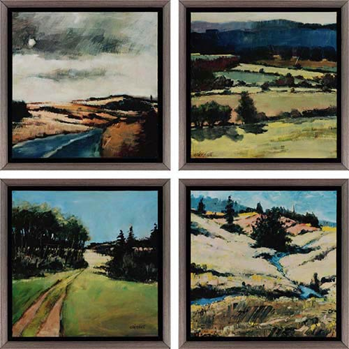 Paragon Serene by Clement: 13 x 13 Framed Acrylic Paint, Set of 4