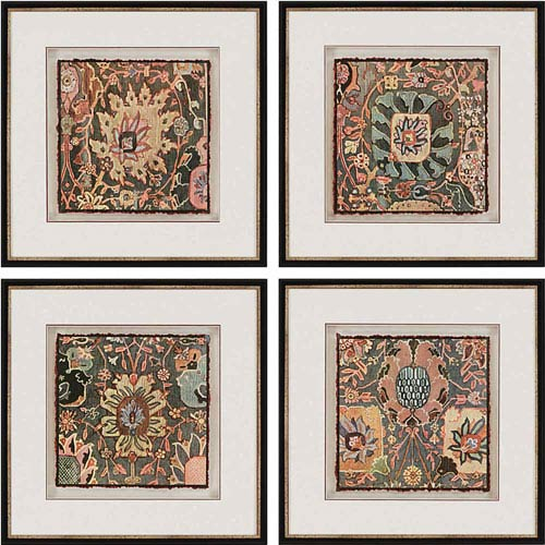 Persian Carpet by Vision Studio: 22 x 22-Inch Framed Wall Art, Set of Four