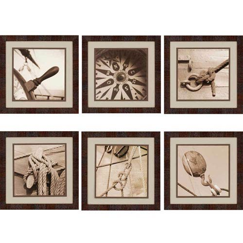 Paragon Nautical by Kahn: 18 x 18-Inch Framed Wall Art, Set of Six