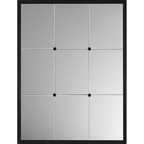Black Windowpane Reflections Mirror