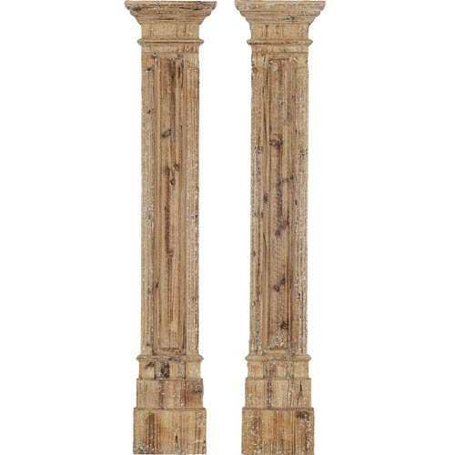 Natural Wood Rustic Columns Wall Sculpture, Set of Two