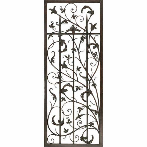 Aged Metal Rusty Vine Trellis II Wall Sculpture