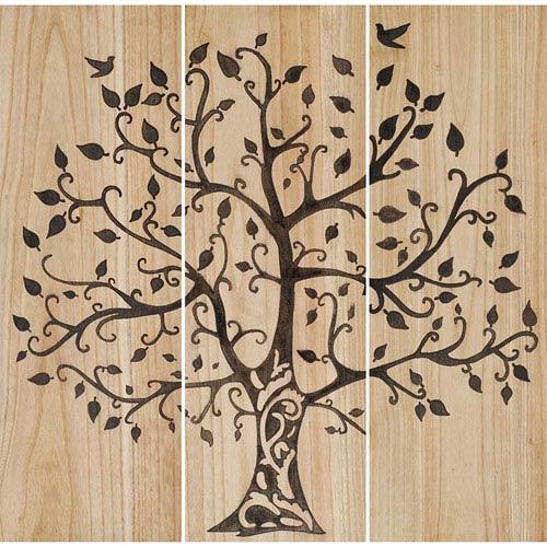 Natural Wood Tree of Life Wall Sculpture, Set of Three