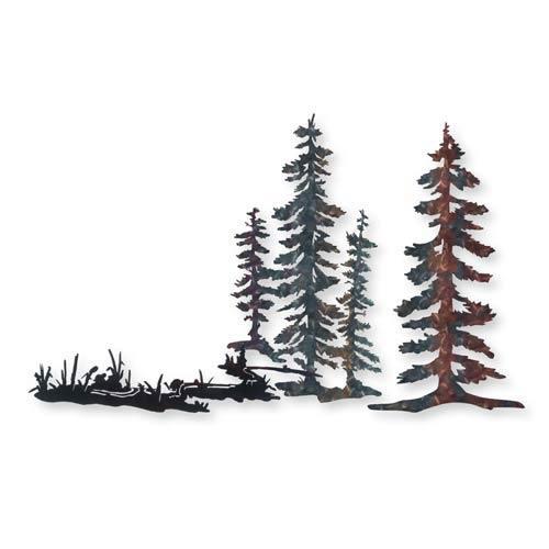 Three Piece Tree Scene with Stream Wall Art