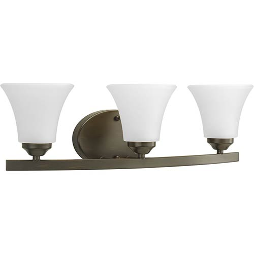 Progress Lighting P2010-20W: Adorn Antique Bronze Three-Light Bath Vanity with Etched Glass
