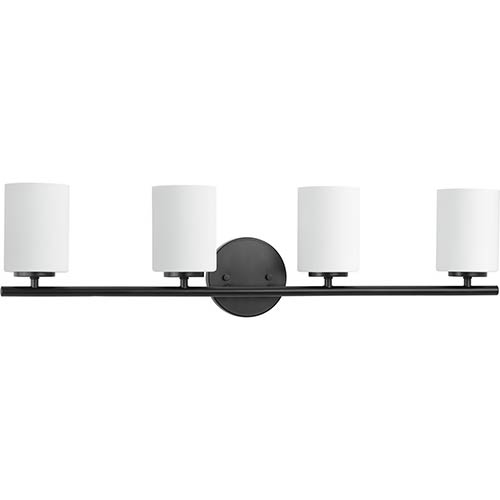 Progress Lighting P2160-31: Replay Black Four-Light Bath Vanity with Etched Glass