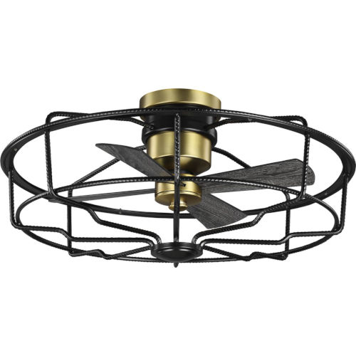 Loring Black 33-Inch Ceiling Fan with Open Cage Frame