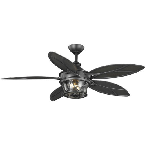 Alfresco Blistered Iron 54-Inch Two-Light Ceiling Fan with Clear Seeded Shade