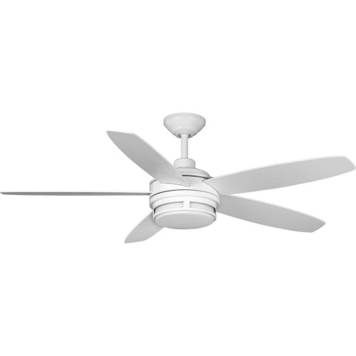 Albin Satin White 54-Inch LED Ceiling Fan with White Opal Shade