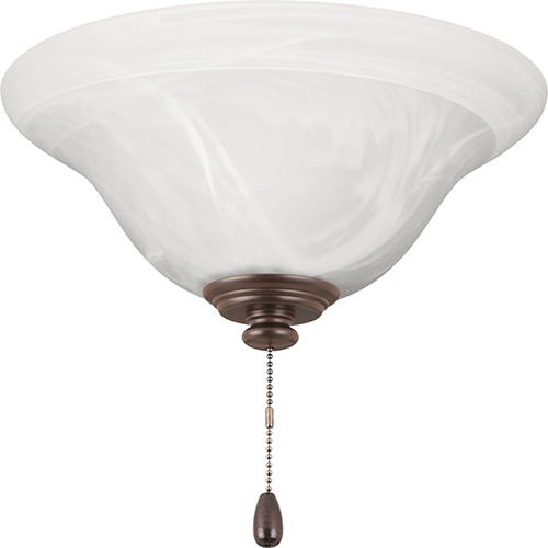 P2660-20: AirPro Antique Bronze One-Light LED Energy Star Ceiling Fan Light Kit with Etched Alabaster Glass