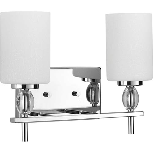 Progress Lighting P2775-15: Status Polished Chrome Two-Light Bath Vanity with Etched Linen Glass