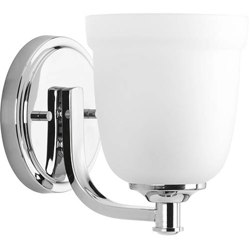 Progress Lighting P300057-015: Topsail Polished Chrome One-Light Bath Sconce with Etched Parchment Glass