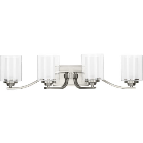 Kene Brushed Nickel 31-Inch Four-Light Bath Vanity with Clear Shade