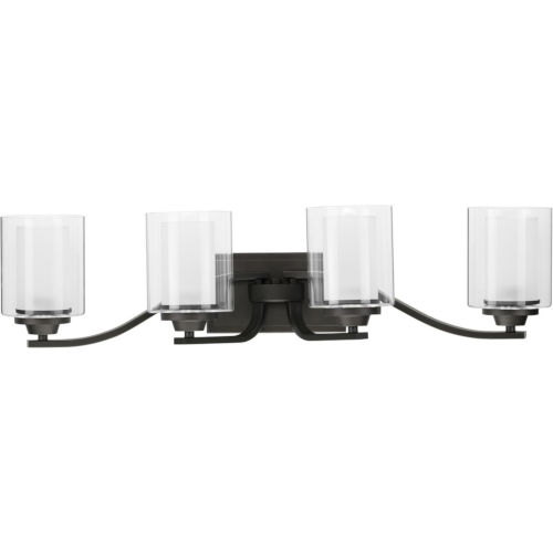 Kene Graphite 31-Inch Four-Light Bath Vanity with Clear Shade
