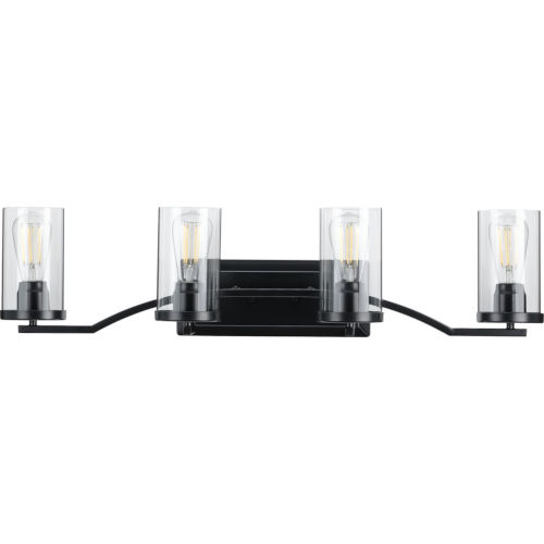 Lassiter Matte Black 34-Inch Four-Light Bath Vanity with Clear Shade