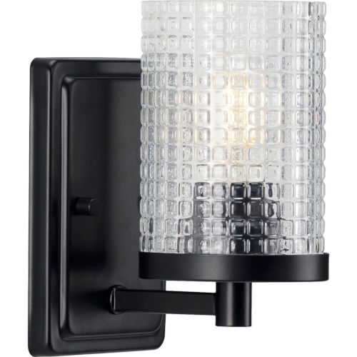 Fawcett Matte Black Five-Inch One-Light Bath Vanity with Clear Shade