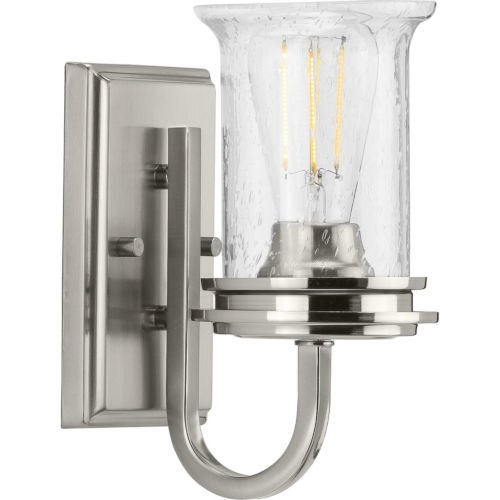 Winslett Brushed Nickel Five-Inch One-Light Bath Vanity with Clear Seeded Shade