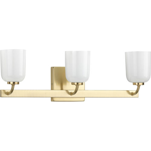 Moore Satin Brass 22-Inch Three-Light Bath Vanity with White Opal Shade