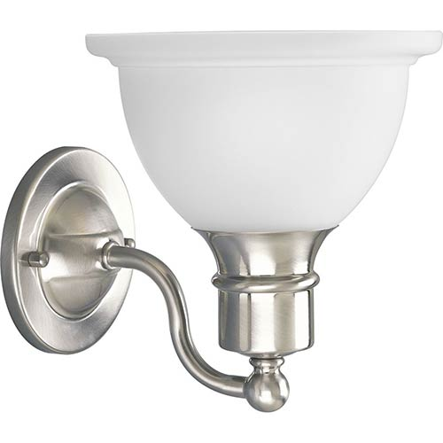 Progress Lighting P3161-09: Madison Brushed Nickel One-Light Bath Sconce with Etched Glass
