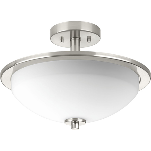 Progress Lighting P3424-09: Replay Brushed Nickel Two-Light Semi Flush Mount with Etched Glass