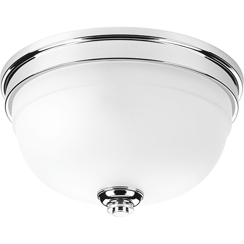 P350047-015: Topsail Polished Chrome Two-Light Flush Mount with Etched Parchment Glass