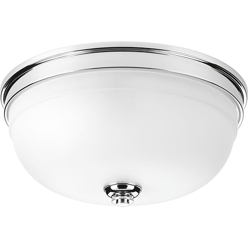 Progress Lighting P350048-015: Topsail Polished Chrome Three-Light Flush Mount with Etched Parchment Glass