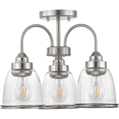 P350109-009: Saluda Brushed Nickel Three-Light Semi-Flush Lighting