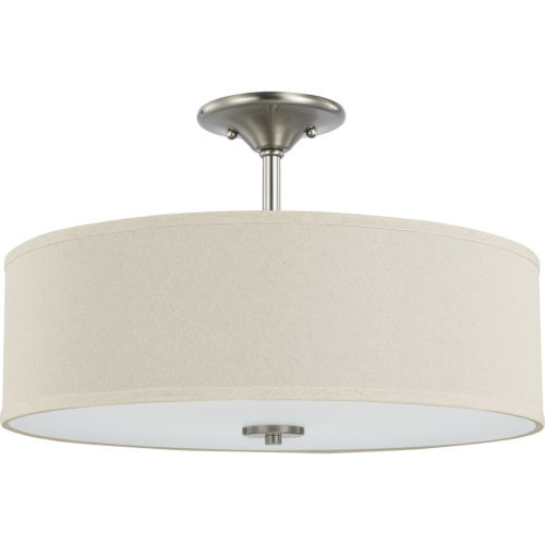Inspire Brushed Nickel 18-Inch Three-Light Semi-Flush Mount with Off White Linen Shade