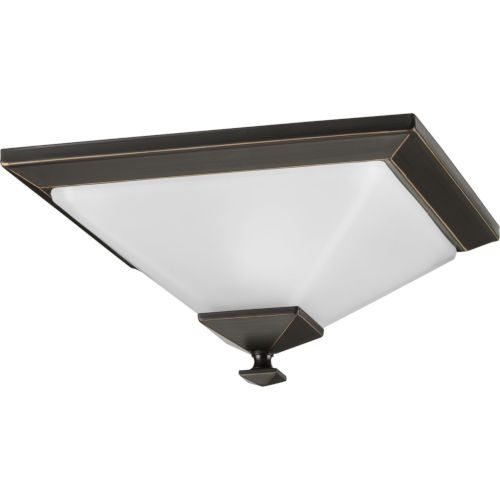 Clifton Heights Antique Bronze 13-Inch One-Light Flush Mount with Etched Shade