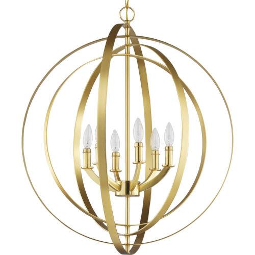 Equinox Satin Brass 30-Inch Six-Light Pendant