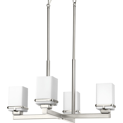 Progress Lighting P400045-009: Metric Brushed Nickel Four-Light Chandelier with Etched Opal Glass