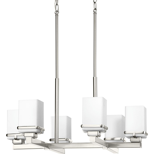 Progress Lighting P400046-009: Metric Brushed Nickel Six-Light Chandelier with Etched Opal Glass