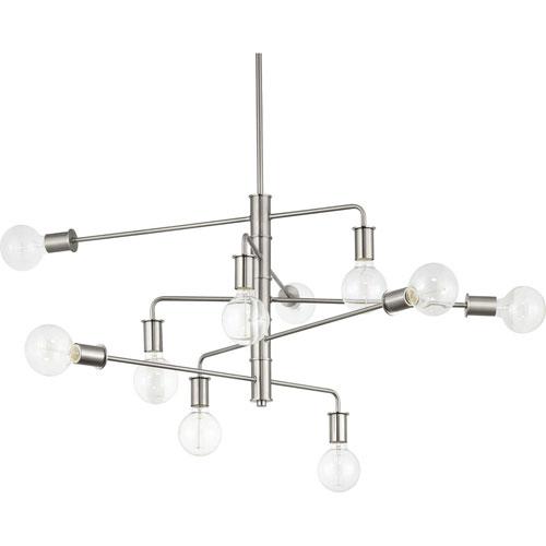 P400144-009: Calder Brushed Nickel Ten-Light Chandelier