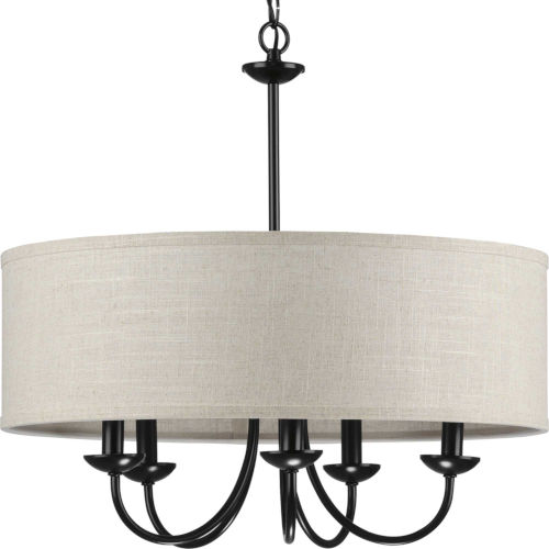 P400193-031 Drum Shade Black 22-Inch Five-Light Chandelier