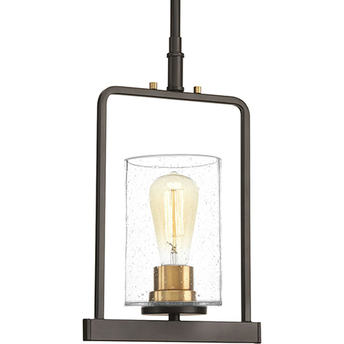 Progress Lighting P500042-020: Looking Glass Antique Bronze One-Light Mini Pendant with Clear Seeded Glass
