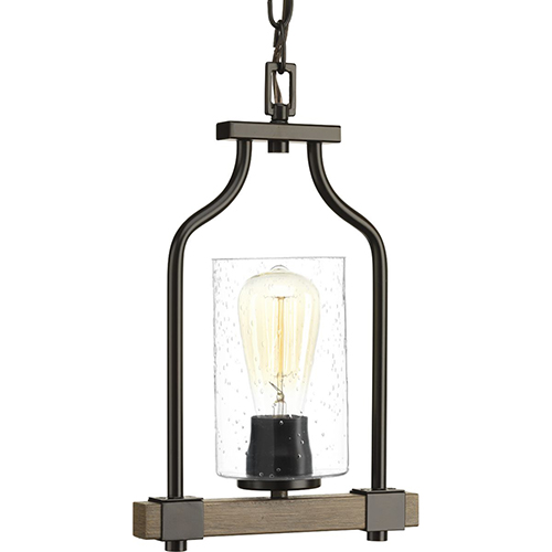 P500056-020: Barnes Mill Antique Bronze One-Light Mini Pendant with Clear Seeded Glass