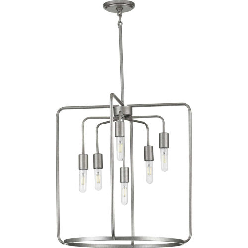 Bonn Galvanized 22-Inch Six-Light Pendant