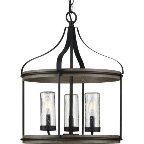Brenham Matte Black 16-Inch Three-Light Outdoor Pendant with Clear Seeded Shade
