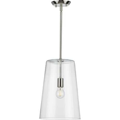 Clarion Polished Nickel 11-Inch One-Light Pendant