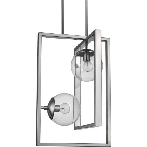 Atwell Brushed Nickel 14-Inch Two-Light Pendant