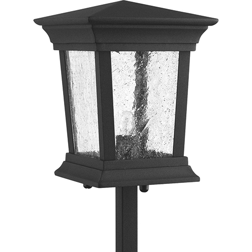 P5258-31WB: Arrive Black One-Light Xenon Landscape Path Light with Clear Seeded Glass
