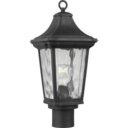 Marquette Textured Black Nine-Inch One-Light Outdoor Post Mount with Clear Water Shade