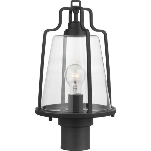 Benton Harbor Textured Black Nine-Inch One-Light Outdoor Post Mount with Clear Shade