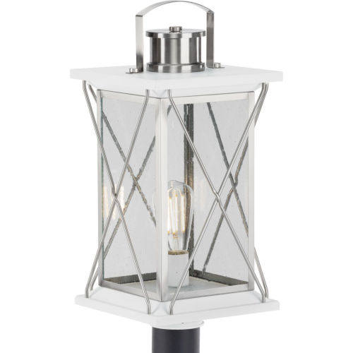 Barlowe Stainless Steel Nine-Inch One-Light Outdoor Post Mount with Clear Seeded Shade