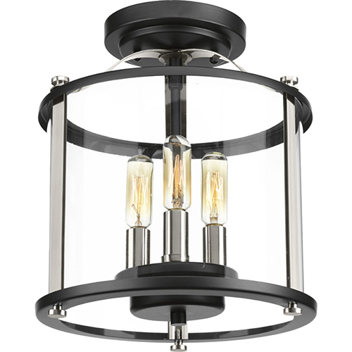 P550011-031: Squire Black Three-Light Outdoor Semi Flush Mount