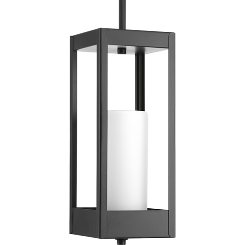 P550013-031: Patewood Black One-Light Outdoor Hanging Lantern with Etched Opal Glass