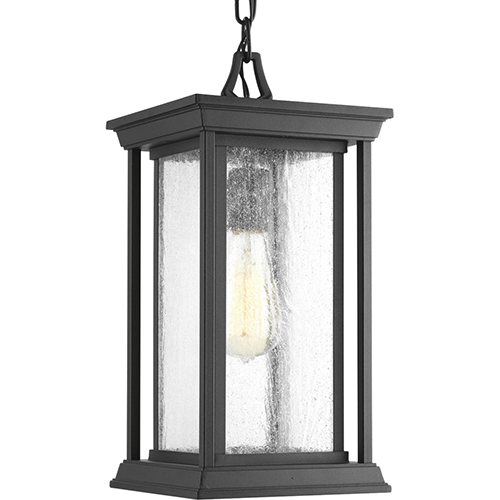 P5500-31: Endicott Black One-Light Outdoor Hanging Lantern with Clear Seeded Glass