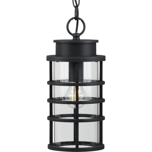 Port Royal Textured Black Six-Inch One-Light Outdoor Pendant with Clear Shade