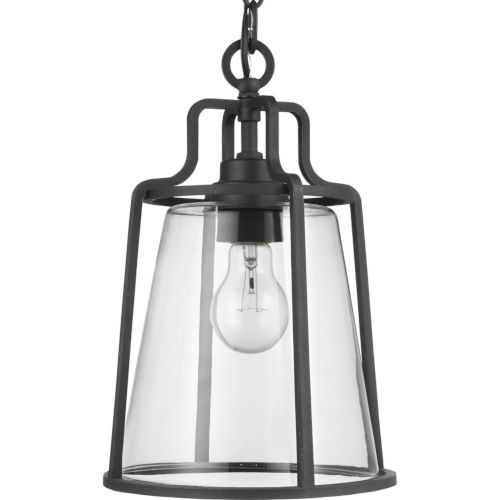 Benton Harbor Textured Black Nine-Inch One-Light Outdoor Pendant with Clear Shade