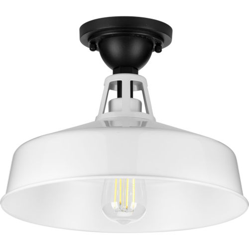 Cedar Springs White 13-Inch One-Light Outdoor Semi-Flush Mount with Metal Shade